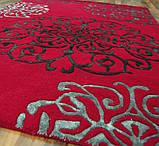 Ярко красный ковер с вискозным рисунком, фото 3