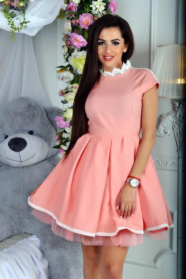 bcfc971ba94 Платье выпускное вечернее короткое пушистая юбка декор кружево размер 42
