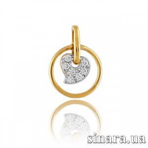 Золотая подвеска из желтого золота Листик с цирконием 6363