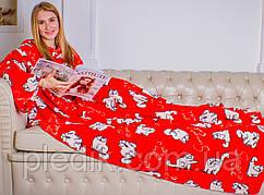 Плед с рукавами из микрофибры, 160х200 Красные котики