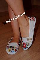 Мокасины белые с цветами текстиль код 389
