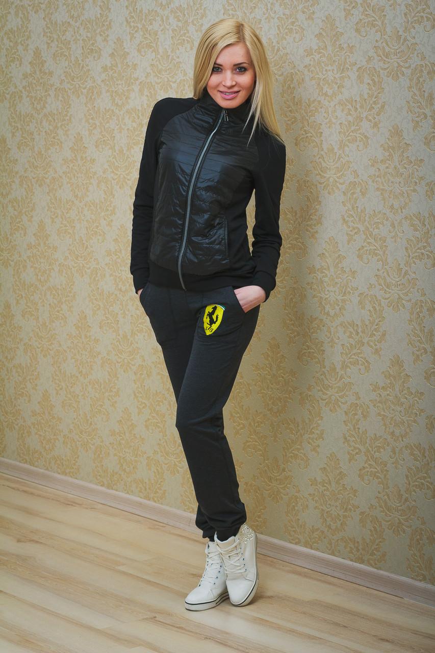 Спортивные штаны женские с вышивкой темно-серые