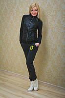 Спортивные штаны женские с вышивкой темно-серые, фото 1