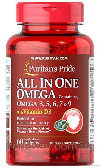 Puritan's Pride All In One Omega 3, 5, 6, 7 and 9 with Vitamin D3 - 60 softgels