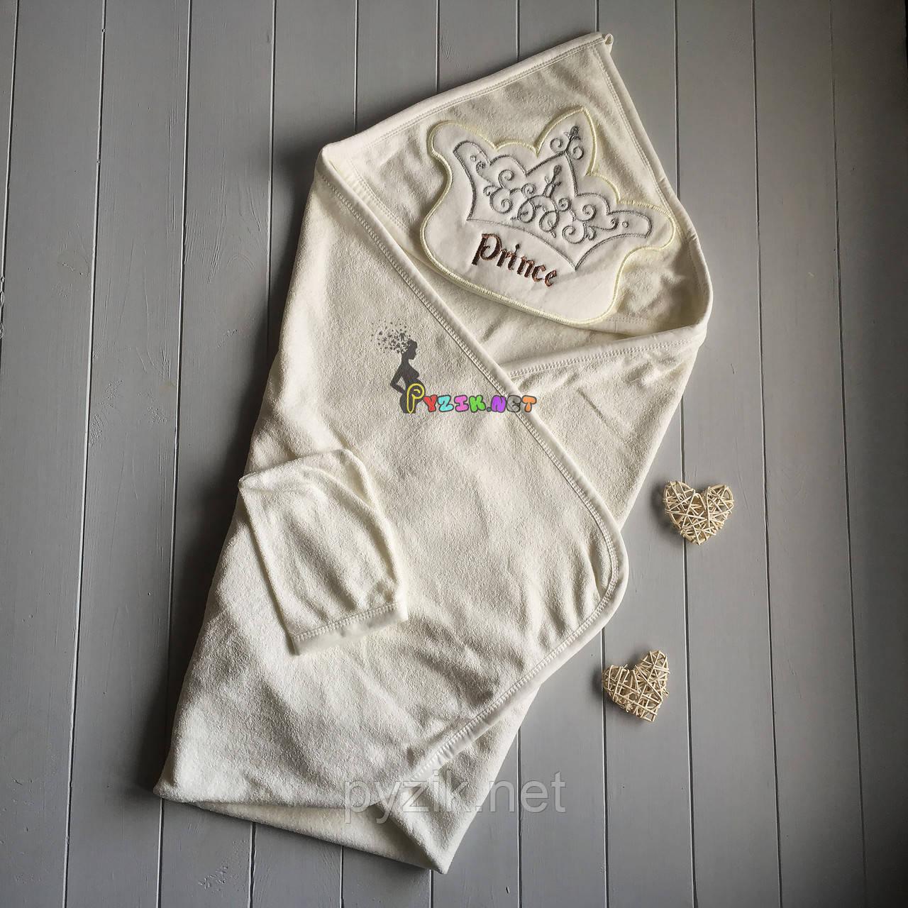 "Полотенце-уголок с капюшоном и варежкой Babyline ""Prince"""