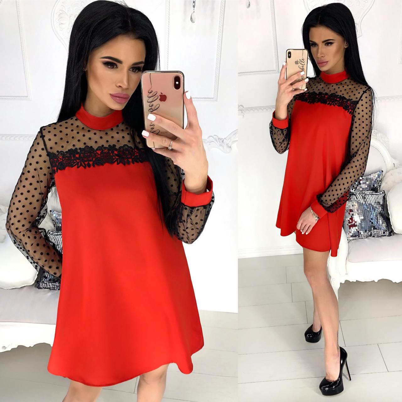 f8190b5b298f8b3 Нарядное платье с сеточкой и кружевом. Красное, 4 цвета. - Bonoshop.in