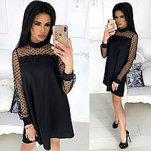 Нарядное платье с сеточкой и кружевом. Чёрный, 4 цвета.