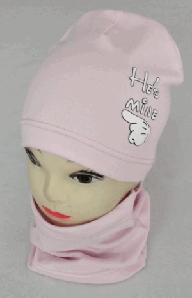 Шапка трикотажная и баф для девочек м 5519, Vivatricko  3-8 лет, разные цвета
