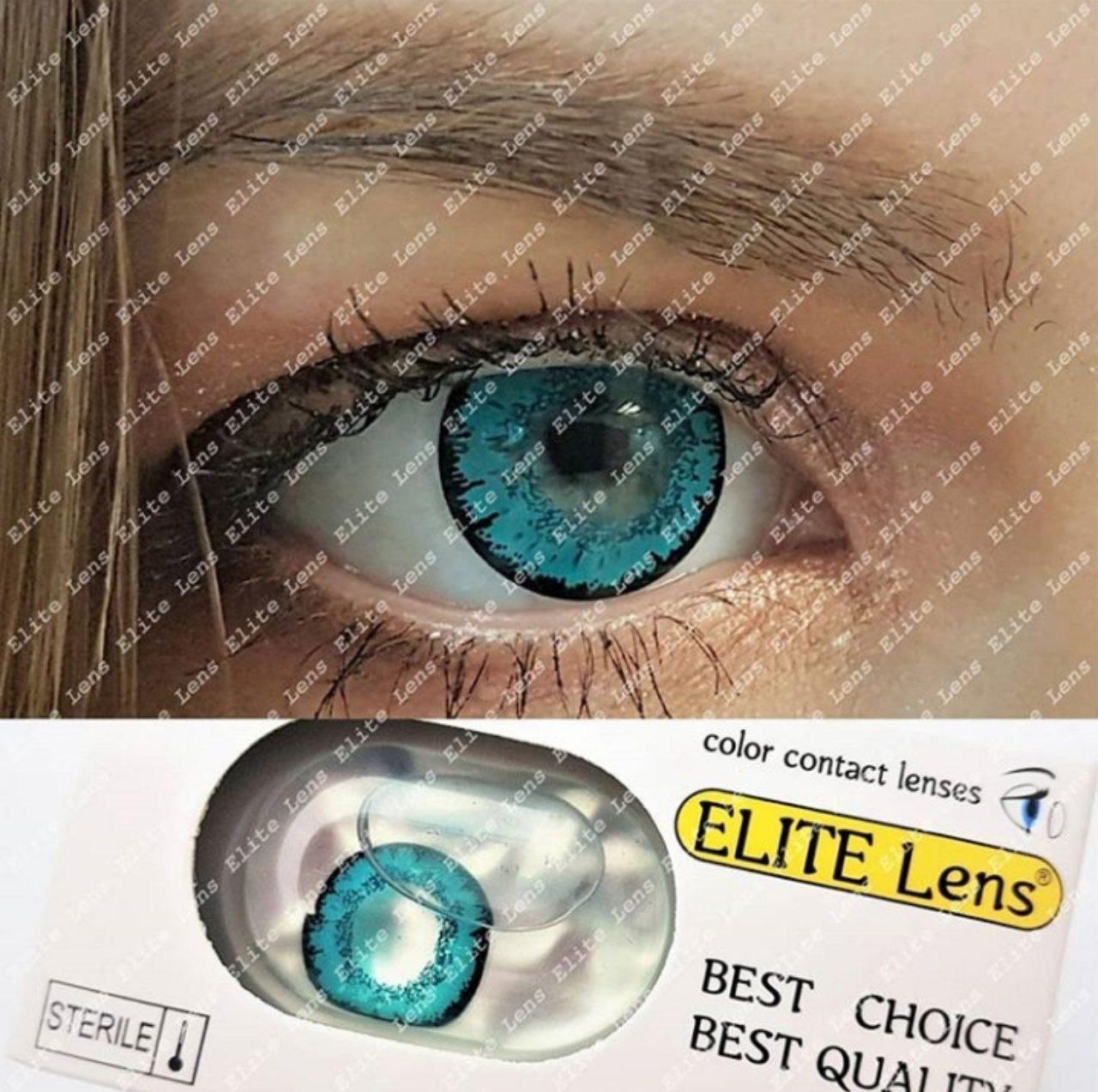 """Яркие зелёные-голубые линзы """"Аквамарин"""" на светлых глазах"""