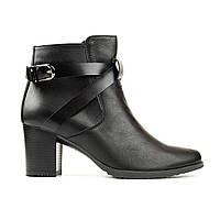 Ботинки из натуральной кожи на каблуке черный, фото 1