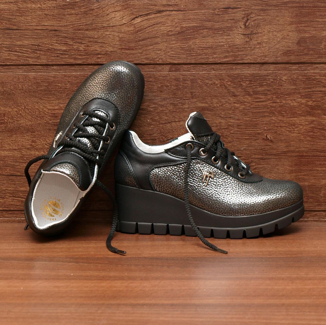 Туфли женские на платформе кожаные никель