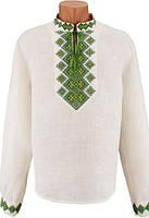 Эксклюзивная мжская вышиванка Богатырь с зеленой вышивкой