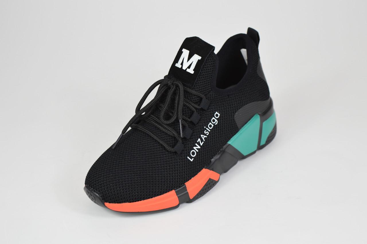 Черно-оранжевые текстильные кроссовки Lonza 3508