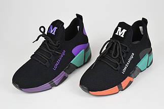 Черно-оранжевые текстильные кроссовки Lonza 3508, фото 3