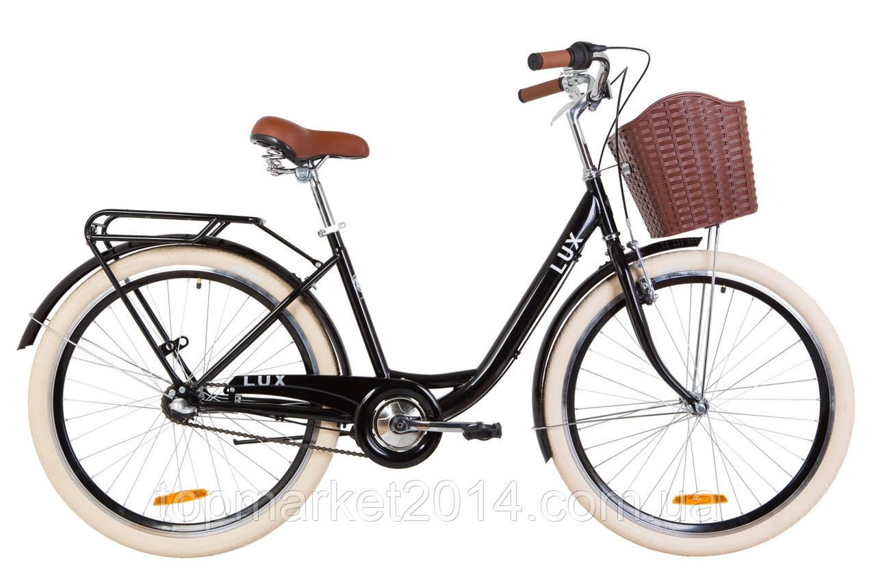 """Дорожньо-міський велосипед з багажником і кошиком DOROZHNIK LUX PH 26"""" (чорний)"""