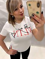 Трикотажная женская футболка с накаткой на груди s, m, l