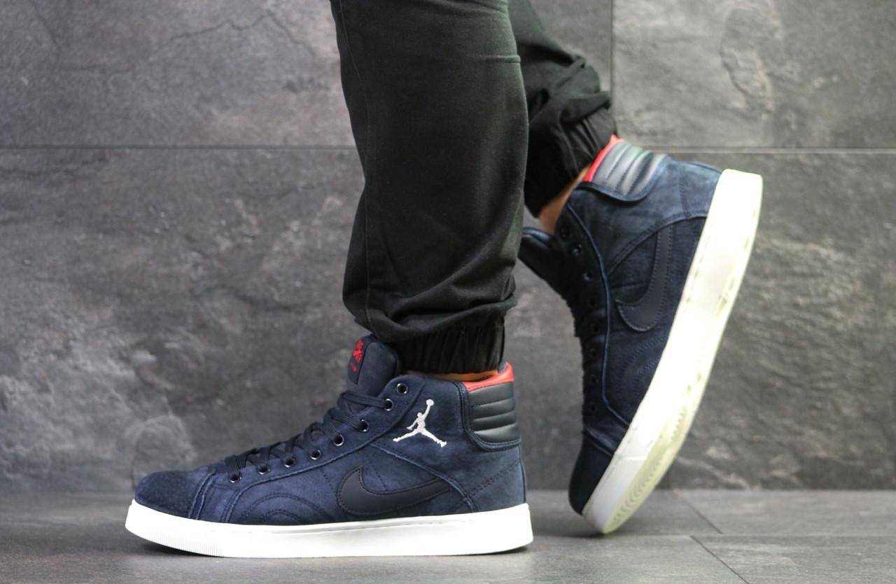 14286f85 Высокие зимние кроссовки Nike Jordan замшевые,темно синие - купить ...