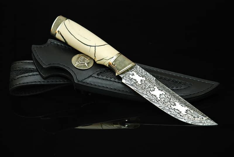 """Коллекционный нож ручной работы из бивня мамoнта """"Сквайр"""", мозаичный дамаск"""