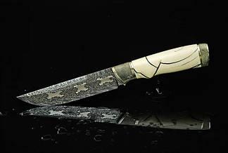 """Коллекционный нож ручной работы из бивня мамoнта """"Сквайр"""", мозаичный дамаск, фото 2"""