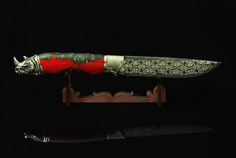 """Колекційний ніж з мозаїчного дамаска """"Носоріг"""", статусний оригінальний подарунок для чоловіка, фото 2"""