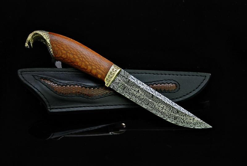 """Дизайнерський ніж ручної роботи """"Кобра"""", мозаїчний дамаск (подарунок лікаря, керівника, політику, бізнесмену)"""