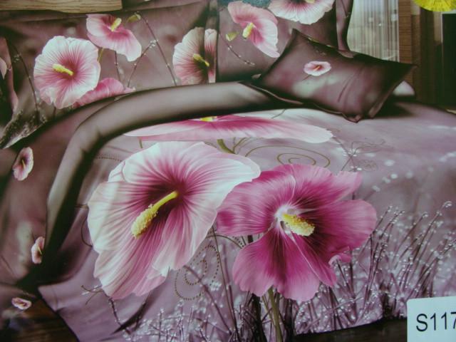 Сатиновое постельное белье евро  3Д ELWAY  S117