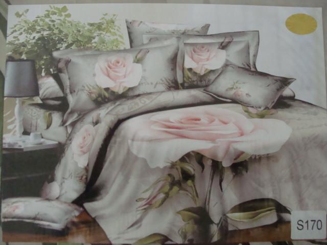 Сатиновое постельное белье евро  3Д ELWAY  S170