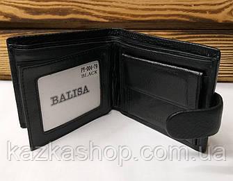 Мужской кошелек из натуральной кожи, 3 купюрницы, 7 отделов для карт, застежка на кнопке, черный цвет, фото 2