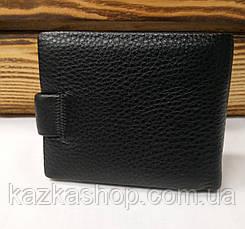 Мужской кошелек из натуральной кожи, 3 купюрницы, 7 отделов для карт, застежка на кнопке, черный цвет, фото 3