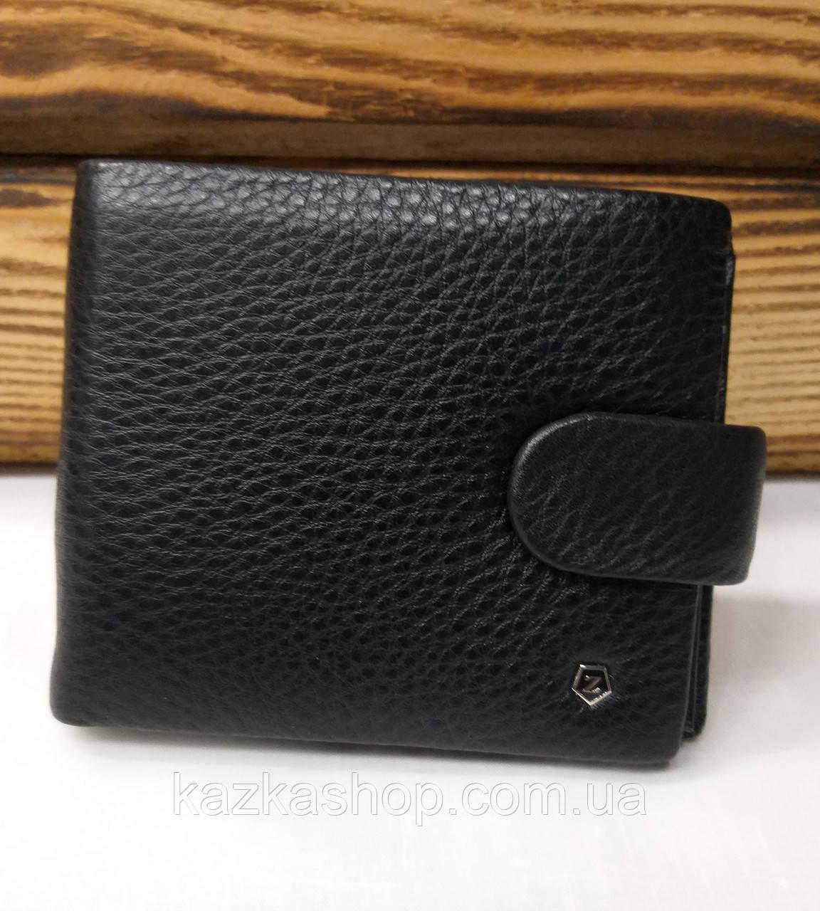 Мужской кошелек из натуральной кожи, 3 купюрницы, 7 отделов для карт, застежка на кнопке, черный цвет