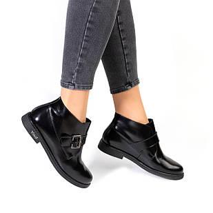 Черные женские ботинки из натуральной кожи 36.40. Woman's heel черные на плоской подошве 40