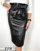 Модная трендовая кожаная женская юбка миди с поясом чёрная S-M L-XL   , фото 1