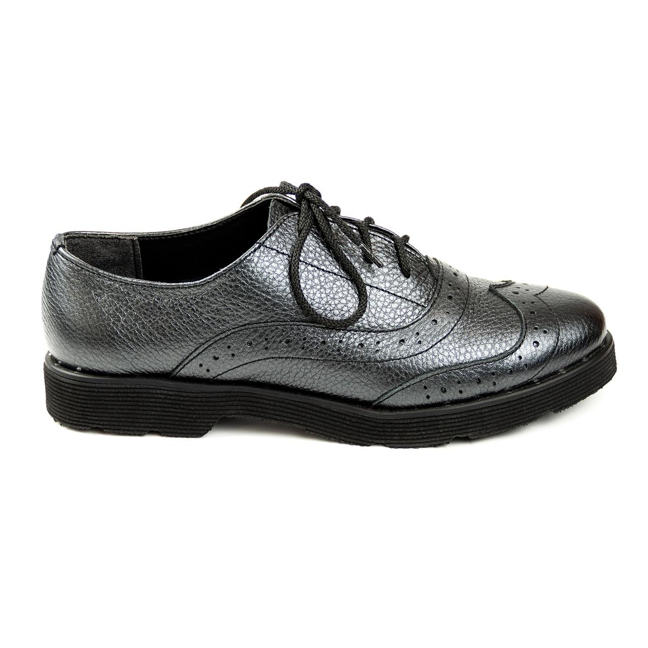 Туфли броги женские 36-40 Woman's heel серые на плоской подошве со шнуровкой