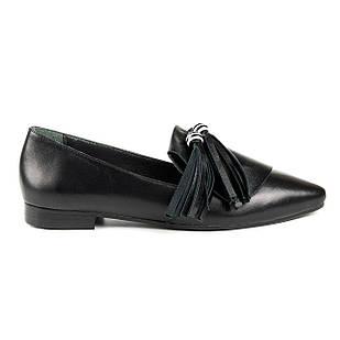 Туфли балетки женские 36-40 Woman's heel черные с заостренным носком со стильным декором