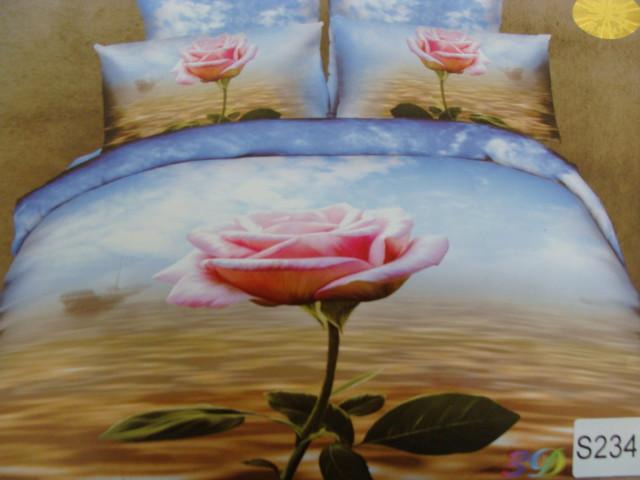 Сатиновое постельное белье евро  3Д ELWAY  S234