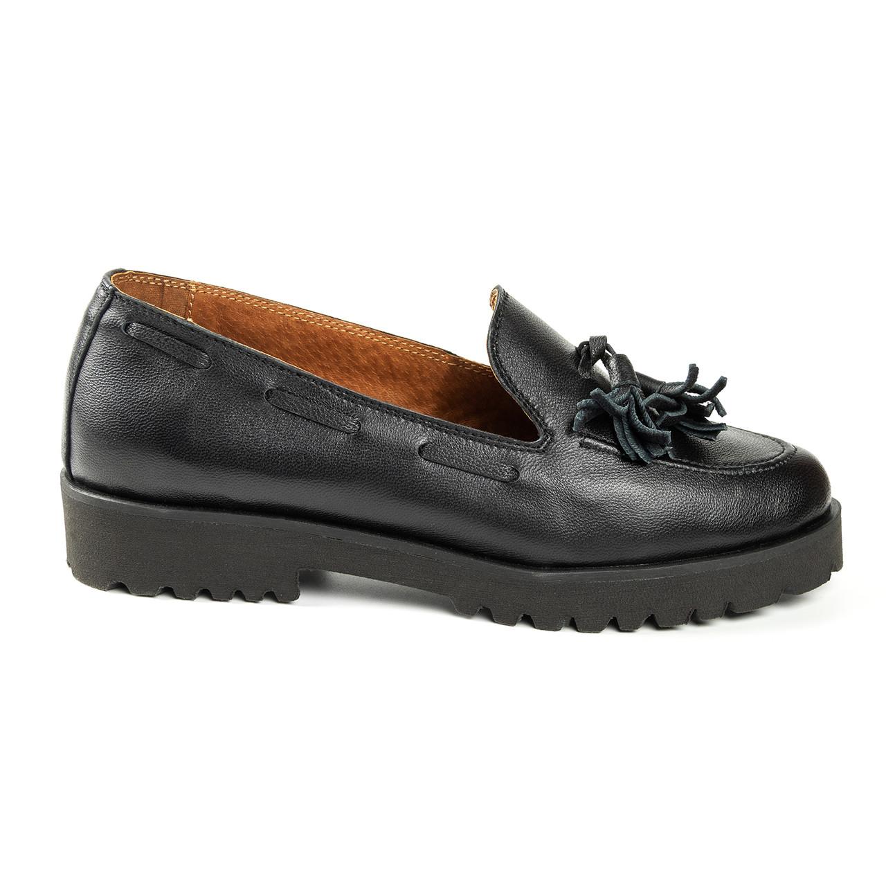 Туфли с кисточкой на низком ходу черный (О-809)