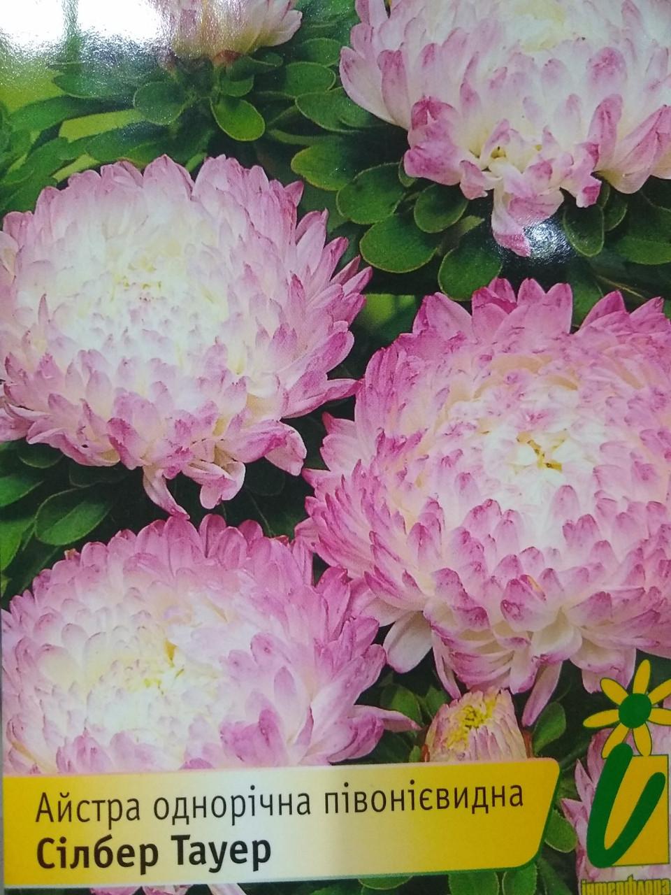 Семена цветов Астра пионовидная Силбер Тауэр семена 10 грамм