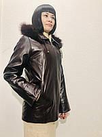 Кожаная женская куртка с капюшоном мехом и подстежкой бордо, фото 1