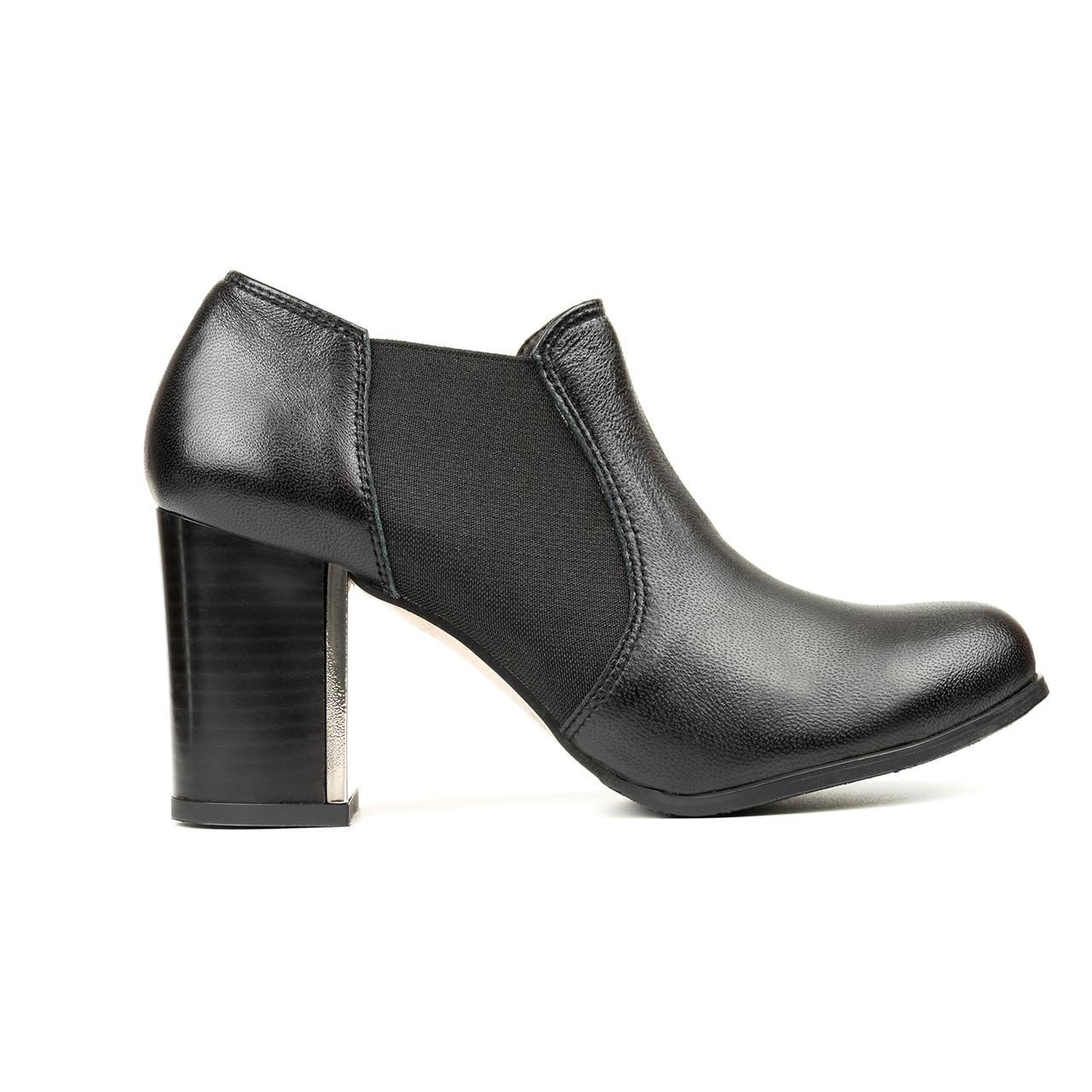 Туфли на широком каблуке черный (О-668)