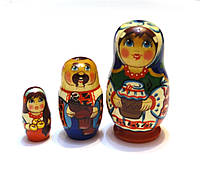 Сувенир Матрешка из 3 куклы 8 см. Ручная работа