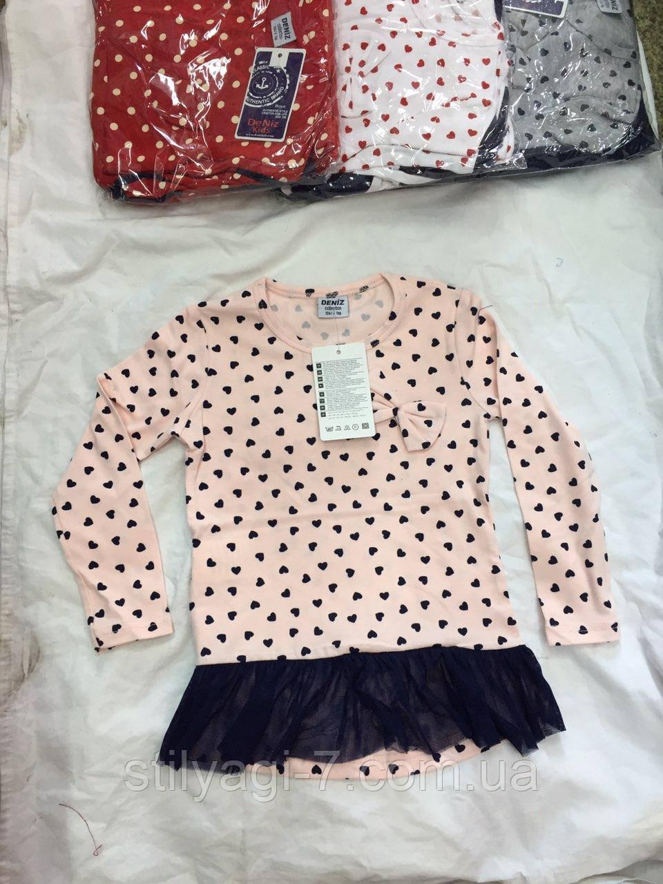 Туника для девочки 4-7 лет персикового, красного, серого, белого цвета оптом