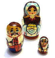 Сувенир Матрешка из 3 куклы 9 см. Ручная работа