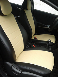 Чехлы на сиденья Пежо 301 (Peugeot 301) (модельные, экокожа Аригон, отдельный подголовник) черно-бежевый