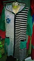 Женский велюровый халат с комбинированной расцветкой полоска