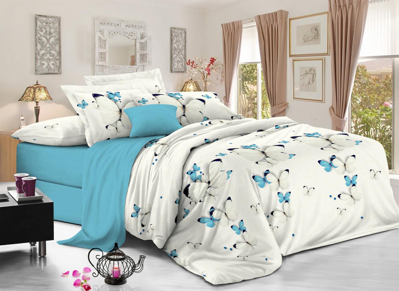 Двуспальный комплект постельного белья евро 200*220 сатин (11371) TM КРИСПОЛ Украина