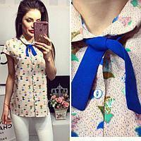 Рубашка короткий рукав (781) бежевая с цветным принтом, фото 1