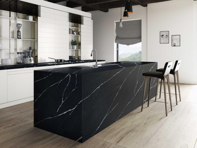 Кухонная Cтолешница искусственный камень Silestone Eternal Marquina - Photo