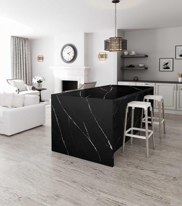 Кухонная Cтолешница искусственный кварцевый камень Silestone Eternal Marquina - Photo