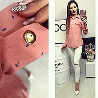 Рубашка короткий рукав (780) розовая с принтом