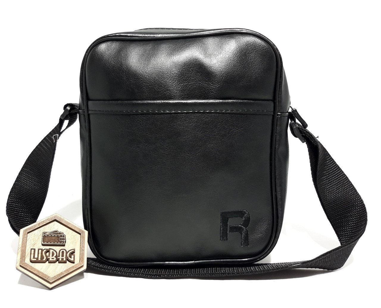 56bb57904b3e Большая мужская сумка планшетка через плечо копия Reebok , черная черный  значек